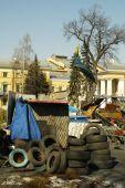 Barricades at Maydan Nezalezhnosti — Stock Photo