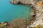 Crimea mountains and Black sea landscape, azure bay, good sunny day — Photo