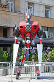 Serbia, Belgrade, August 8, 2015: A talented young artist Danilo Baletic has made several giant sized scrap metal sculptures inspired by Transformers robots — Stock Photo