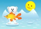 Polar bear and fish — Stock Vector