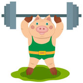 Pig weightlifter — Stock Vector