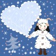 Holiday card, a girl dressed as a sheep with heart — Stock Photo #53015057