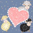 Holiday card with cute sheep and heart on purple background — Stock Photo #53015083