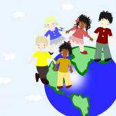 Children of different races on a green planet — 图库照片