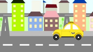 The yellow taxi rides around town, animation, cartoon — Stock Video
