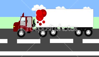 Big truck moving on the highway, animation, cartoon — Stock Video