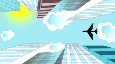The airplane is flying in the sky over skyscrapers, animation, cartoon — Stock Video