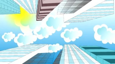 The clouds are flying in the sky over skyscrapers, animation, cartoon — Stock Video