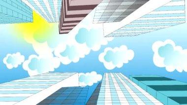 облака летят в небе над небоскребами, мультипликацией, мультфильмом — Стоковое видео