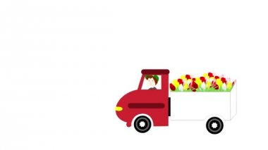 The truck rides and transporting flowers on a white background, animation, cartoon — Stock video