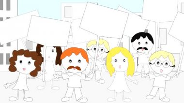 Demonstration, rally people with placards in the city, animation, cartoon — Stock Video