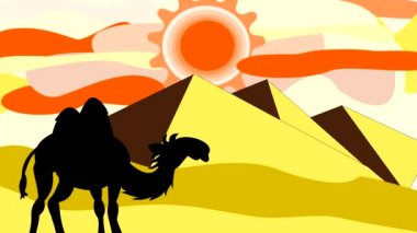 Black silhouettes of camels going through the desert near the pyramids, animation, cartoon — Stock Video