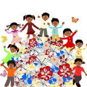 Happy African children around the world blossoms on a white back — Stock Photo