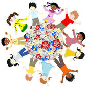Happy children of different races around the world blossoms on a — Stock Photo