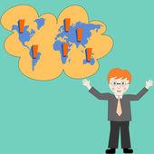 Business man thinking about business development worldwide — Stock Photo