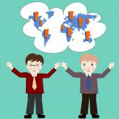 Business people think about business development worldwide — Stock Photo