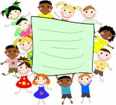 Illustration of children of different races behind a banner on a — Stock Photo