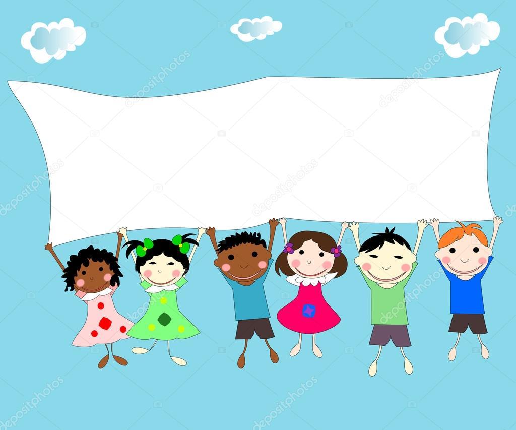 Imagenes De Niños De Distintas Razas: Ilustración De Los Niños De Diferentes Razas Detrás De