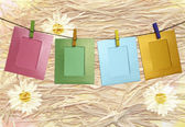 Colorful paper frame with clothespins on a beautiful abstract ba — Stock Photo