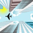The airplane is flying in the sky over skyscrapers in the modern — Stock Photo #73965043