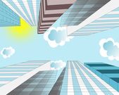 Clouds are flying in the sky over skyscrapers in the modern city — Stock Photo