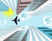 The airplane is flying in the sky over skyscrapers in the modern — Stock Photo