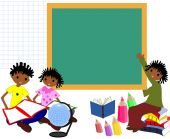 Children of African descent with books in the school board, come — Stock Photo