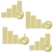 Coins and clock. — Stock Vector