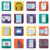 Set of flat home aplliances and electronic devices icons. — Stock Vector