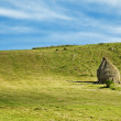 Countryside Landscape with Haystacks on a Meadow — Stock Photo #52629837