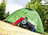 Camping.Mountain Backpack and Tent — Stock Photo
