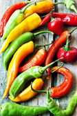 Chili Peppers, Colorful Spicy Peppers — Stock Photo