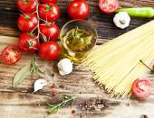 Cherry Tomatoes, Olive Oil,Pasta and Spices,Mediterranean Ingred — Stock Photo