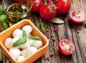 Italian Cooking Ingredients, Mozzarella, Basil, and Cherry Tomat — Stock Photo