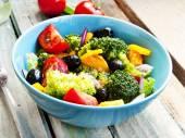Broccoli, Tomato and Olive Salad — Stock Photo