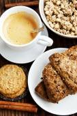 Breakfast with Coffee,Croissant and Crunchy Musli — Stock Photo
