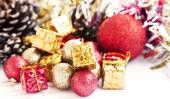 Vintage Red and Golden Christmas Glitter Globes and Decoration — Stock Photo