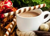 Hot Chocolate with Spiral Snack with Christmas Decoration — Stock Photo