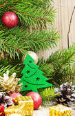 Christmas Tree Decoration with Balls on Fir Tree Background — Stock Photo