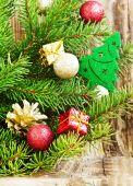 Christmas Tree Decoration with Balls on Fir Tree  — Stock Photo