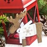 Vintage Wooden Reindeer Christmas Decoration — Stock Photo #58374043