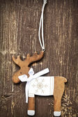 Vintage Wooden Reindeer Christmas Decoration — Stock Photo