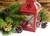 Christmas Lantern with Fir Tree Branches and Decorations — Foto de Stock
