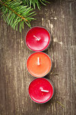 Christmas Candles Decoration and Fir Tree — Stock Photo