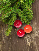 Christmas Scented Candles and Fir Tree Branches — Stock Photo