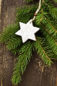 Vintage Wooden Star Christmas Decoration — Stock Photo