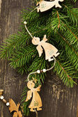Vintage Angels Wooden Christmas Decoration — Stock Photo