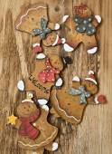 Vintage Wooden Lady and Man Christmas Decorations — Stock Photo