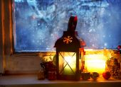 Warm Lantern on Frozen Window,Winter Magic — Stock Photo