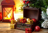 Magic Chest Full of Gifts, Christmas Setting — Stock Photo